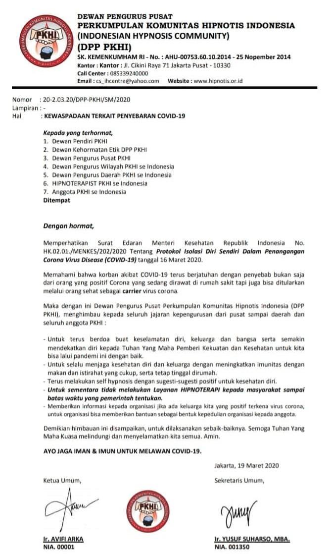 Surat pemberitahuan PKHI