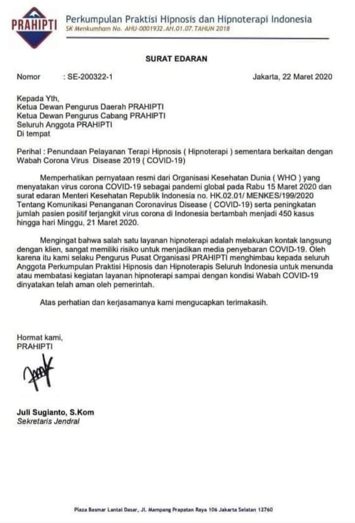 Surat pemberitahuan PRAHIPTI